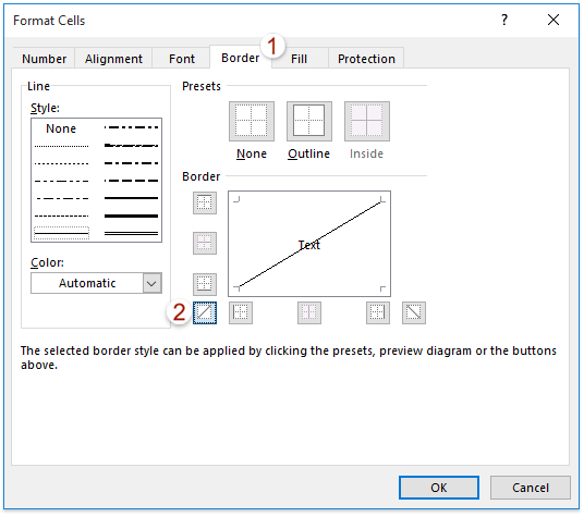 How to split a cell diagonally in Excel?
