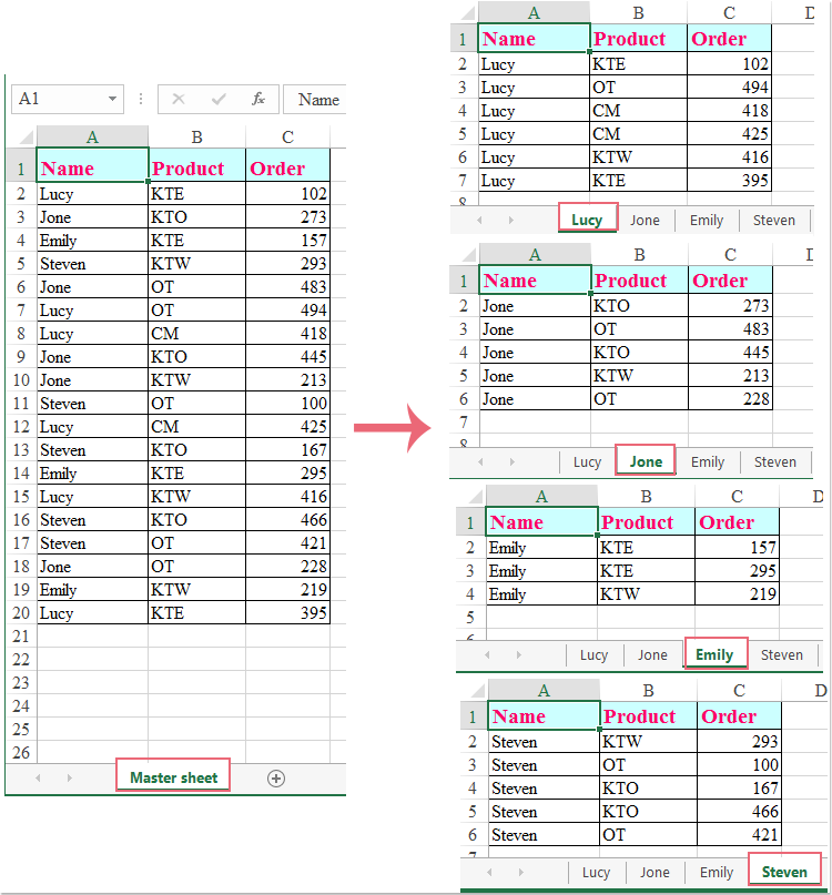 doc split data by columns 1