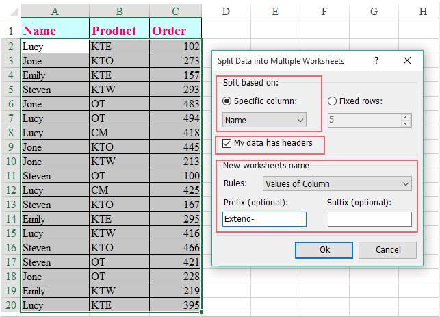 doc split data by columns 4