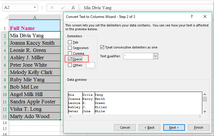 How to split full name to first and last name in Excel?