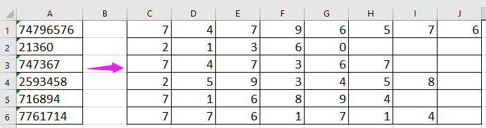 doc split number to columns 8