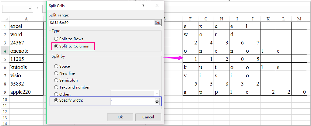 How to split word or number into separate cells in Excel?