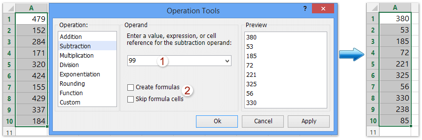 How to subtract a number from a range of cells in excel?