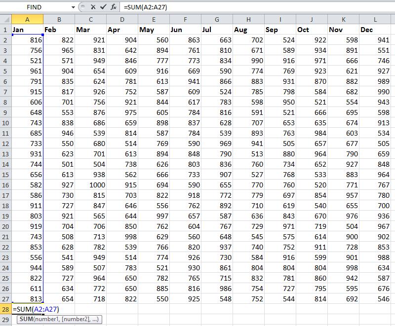 doc sum each column 1
