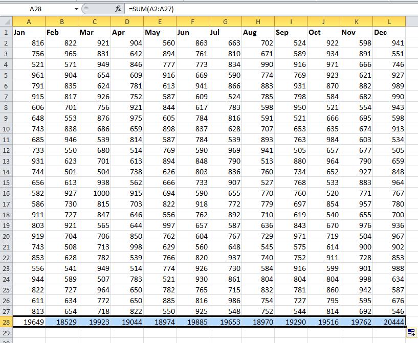 doc sum each column 2
