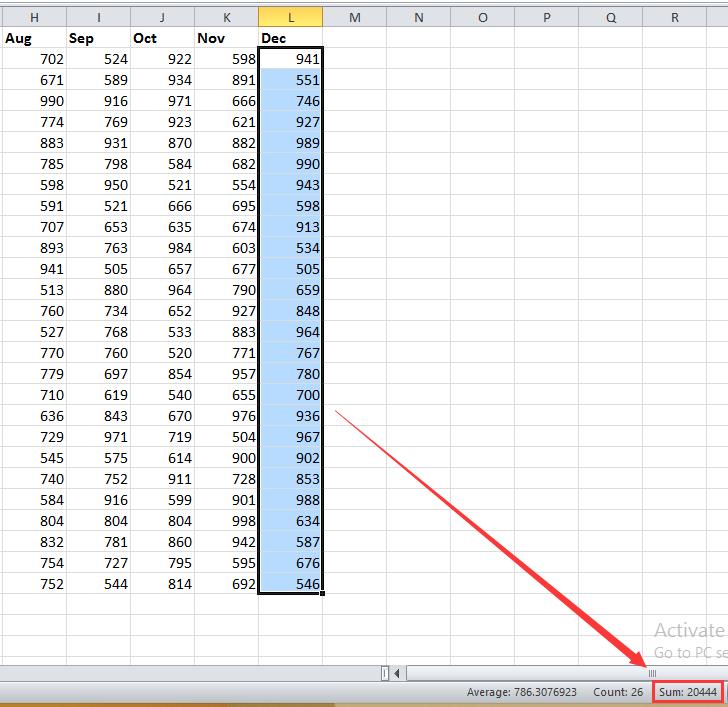 doc sum each column 6