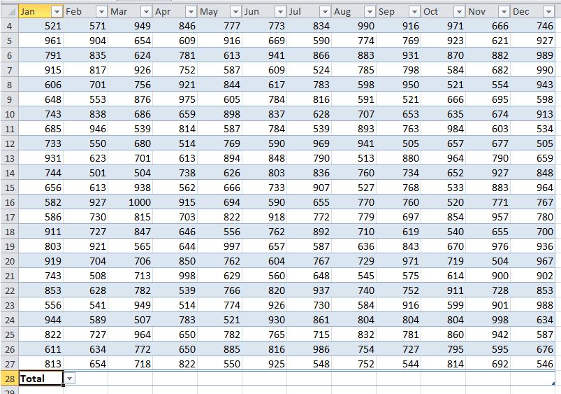 doc sum each column 9