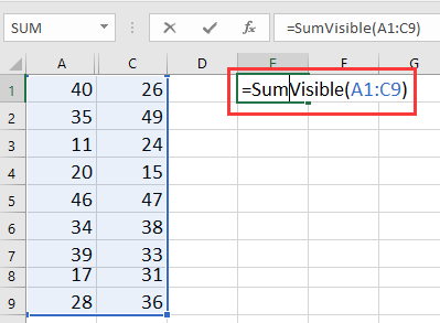 doc sum exclude hidden column 1