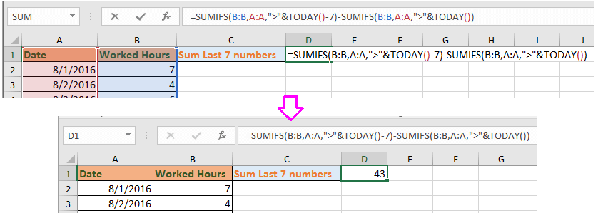 How to sum numbers of last 7 or 30 days including TODAY in