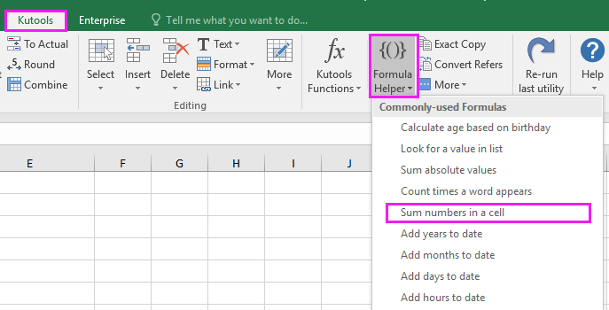 How to sum numbers with commas in a single Excel cell?