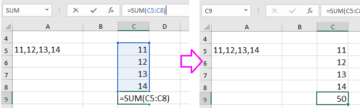 doc sum numbers with commas 17