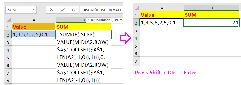 doc sum numbers with commas 2