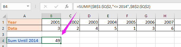 doc sum until reach to adjacent cell 2