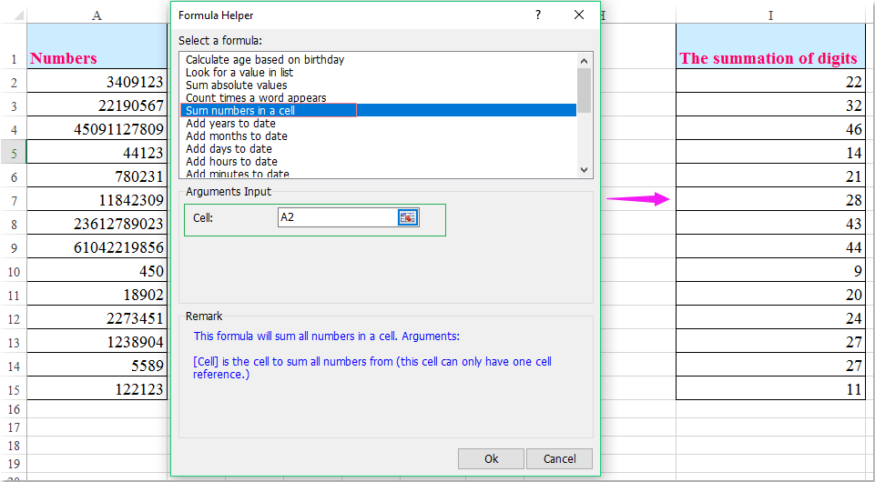 How to sum cells with text and numbers in Excel?