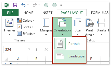 How to change orientation of worksheet or text in cells in Excel