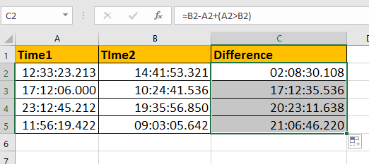How to calculate time difference with milliseconds in Excel?