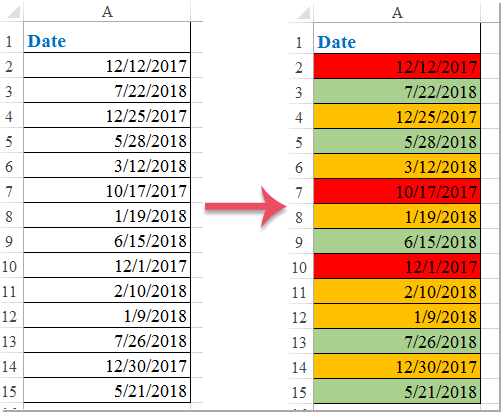 How to conditional formatting red amber green based on date in Excel?