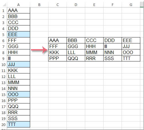 How to transpose every 5 or n rows from one column to multiple columns?