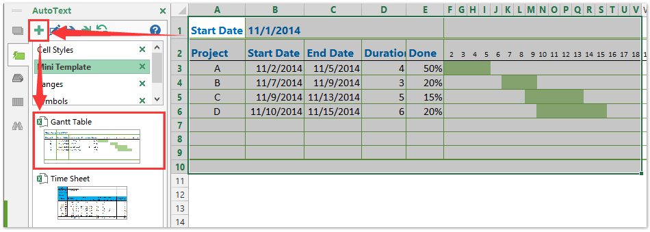 ad auto text gantt table