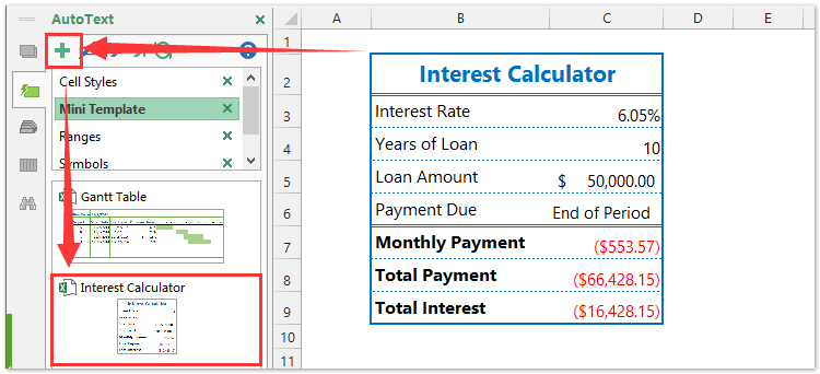 ad auto text interest calculator