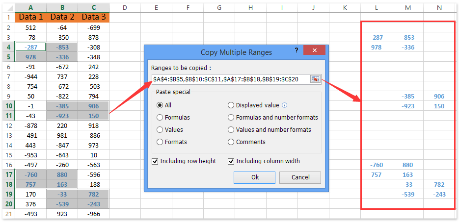 How To Copy And Paste Multiple Non Adjacent Cells Rows Columns In Excel