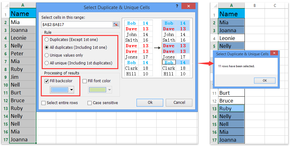 ad select duplicate unique values ​​2