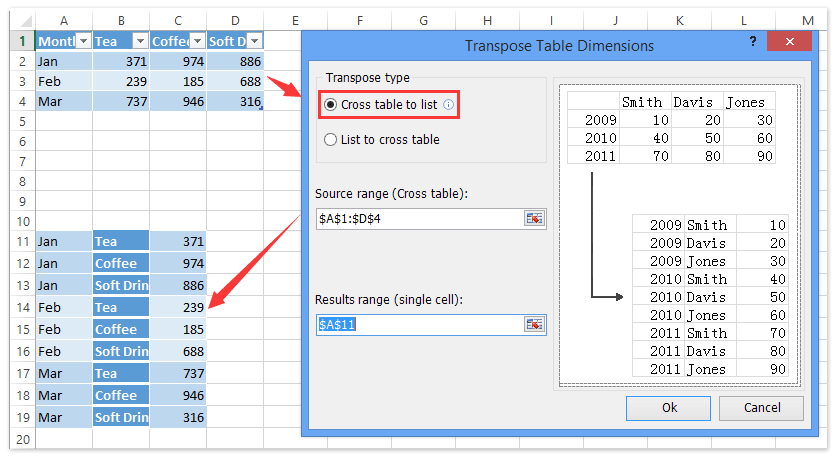 ad transpose table dimensions 1