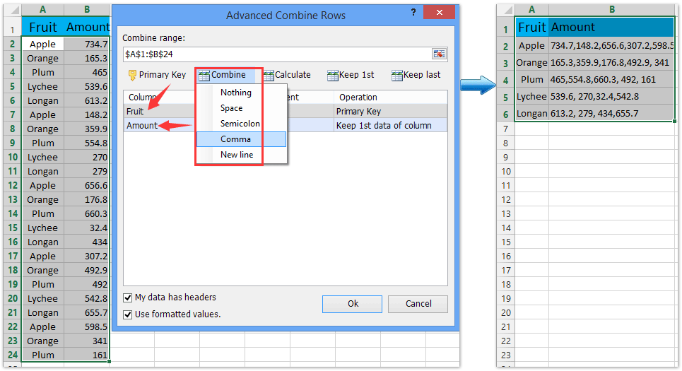 ad advanced combine vlookup return multiple values in one cell