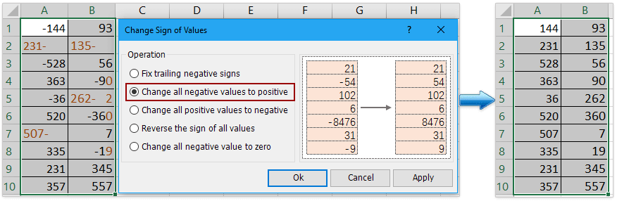 How to change negative numbers to positive in Excel?