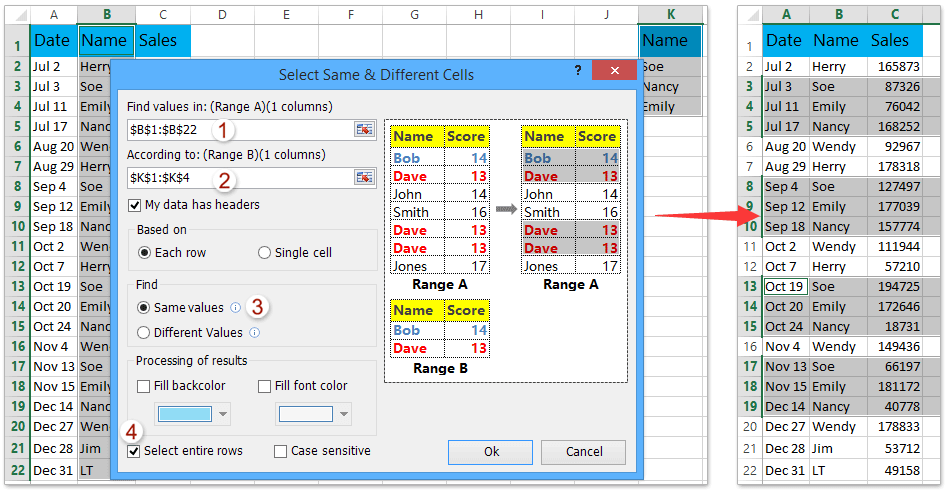 How to filter rows by list of values in Excel?