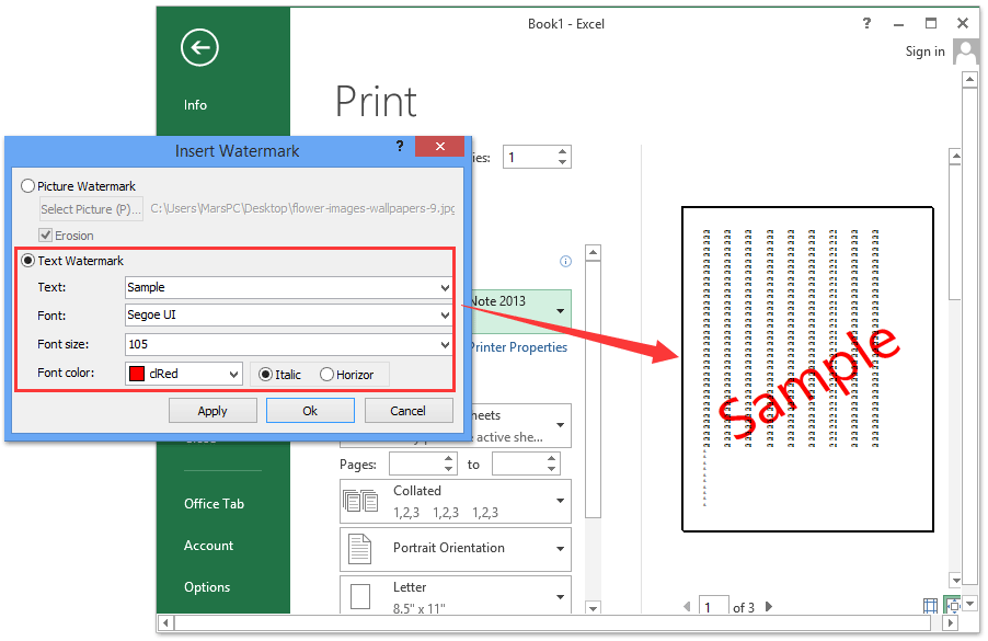 How to insert watermark in Excel?