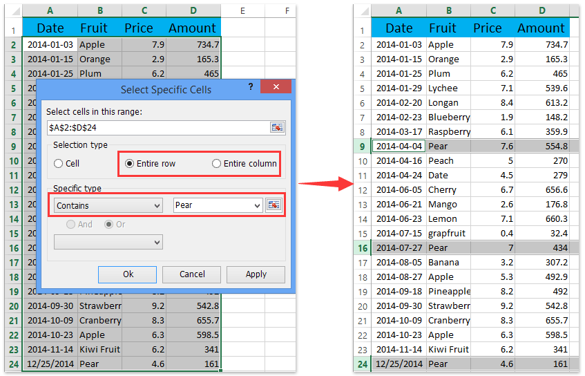 ad select special cells select entire rows columns if containing certain value