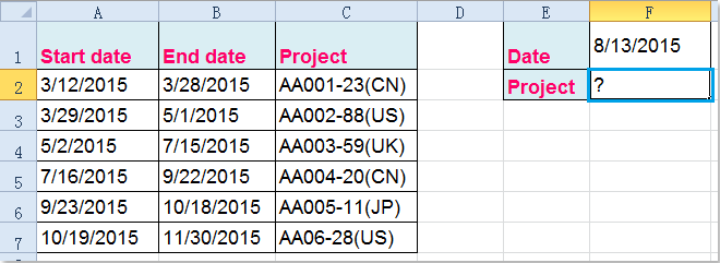 How to vlookup between two dates and return corresponding