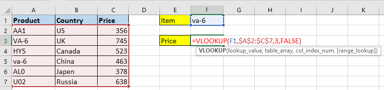 doc vlookup case sensitive insensitive 2