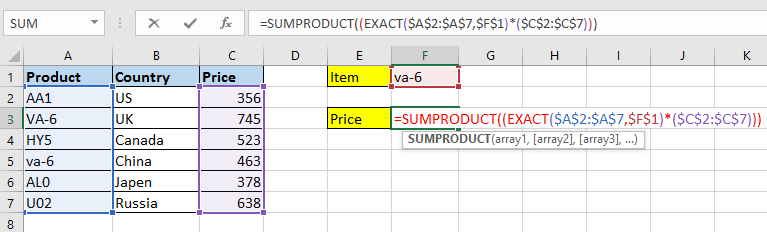 How to VLOOKUP value case sensitive or insensitive in Excel?
