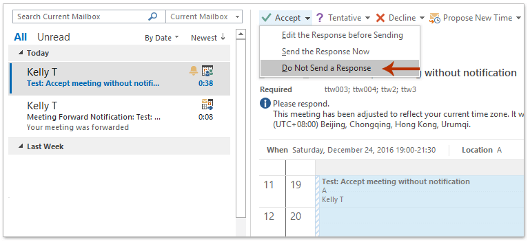 How to accept a meeting request without sending response in