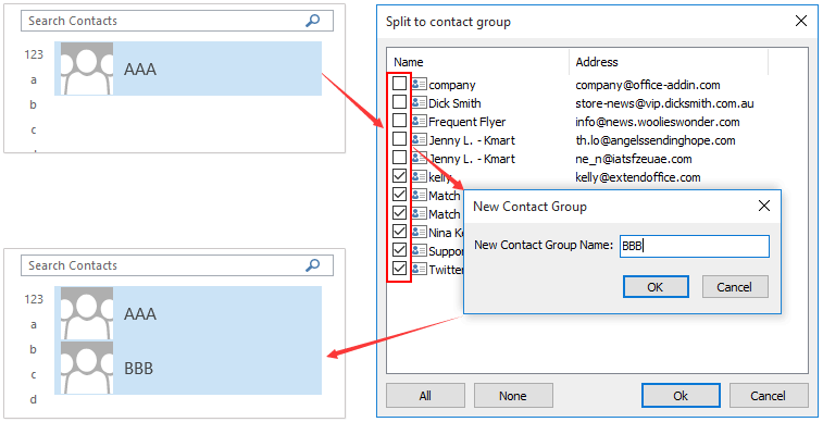 ad split contact group to two 9.50
