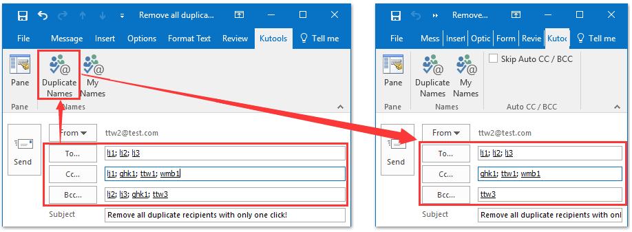 remove dupliacte recipientse email