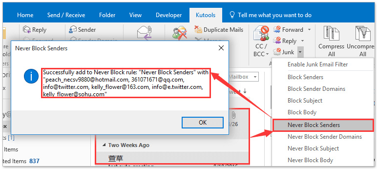 How to add email addresses to safe/blocked senders list in Outlook?
