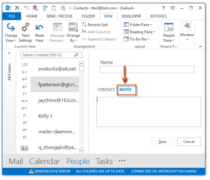 How to add notes to contacts in Outlook?