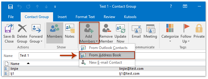 How to add multiple emails' senders to distribution list (contact group) in  Outlook?