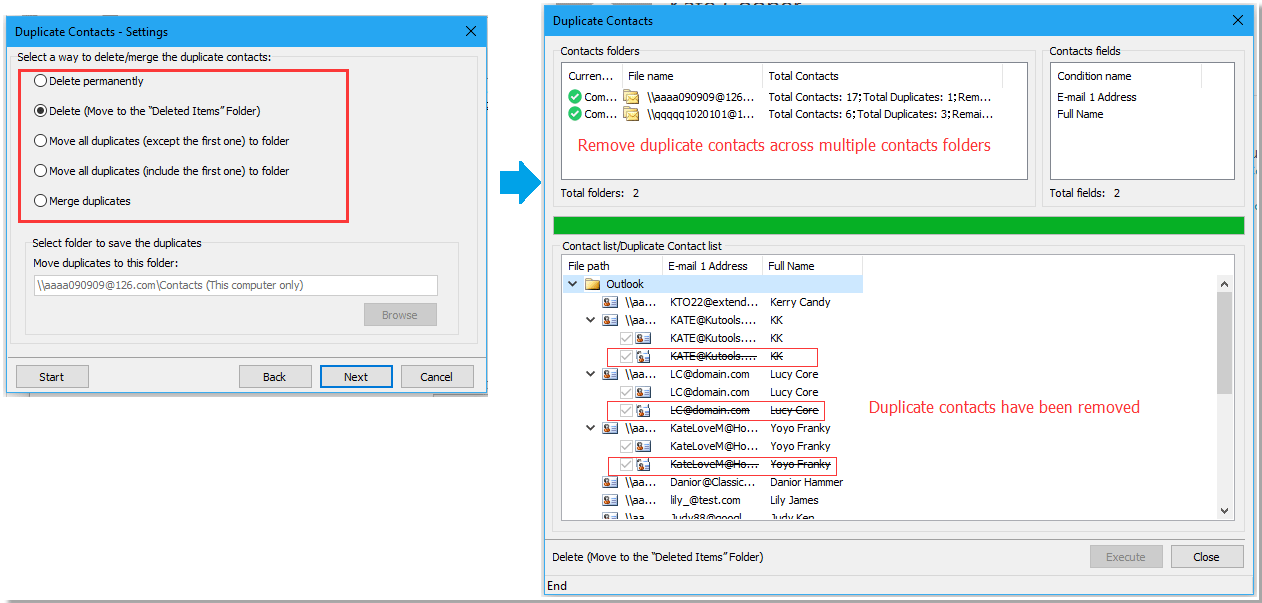 doc remove duplicate contatcs