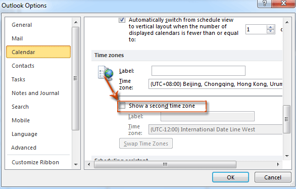 How to add and change a second time zone in Outlook?