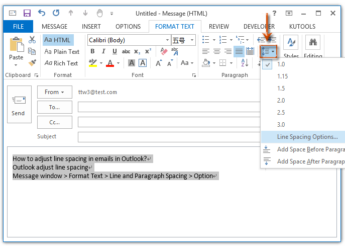 How to adjust line spacing in emails in Outlook?