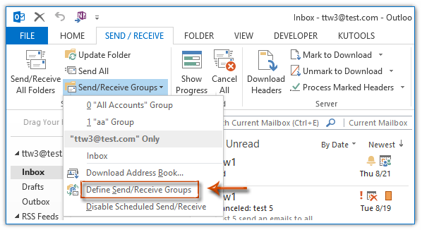 How to adjust auto Send/Receive time in Outlook?