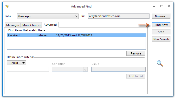How to use the Advanced Search in Outlook?
