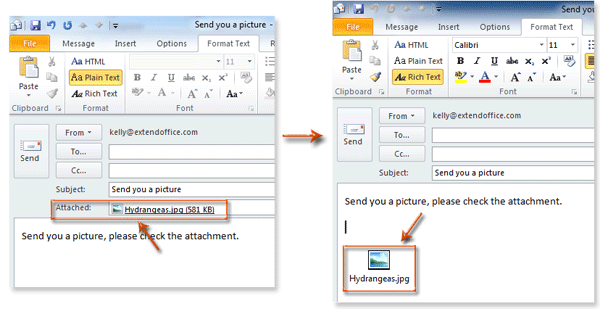How to insert attachments in the body of email message in