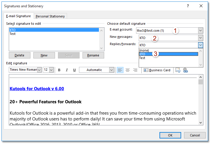 How to assign auto signature to every email in Outlook?