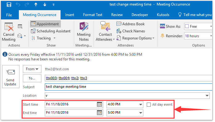 How to change recurring meeting time in Outlook calendar?