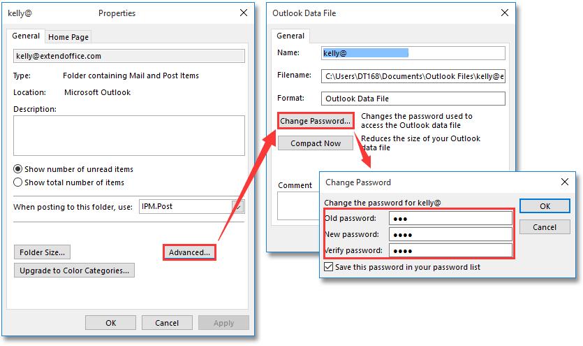 outlook mail passwort ändern